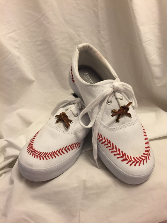 baseball themed painted canvas shoes
