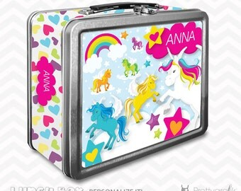 SALE Unicorn Lunch box, personalized lunch box, chalkboard inside for notes, custom name lunch box, Metal lunch box - LB108