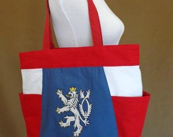 czech lion patriotic canvas tote bag,Czech republic tote
