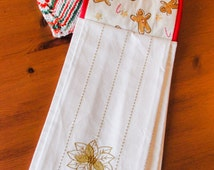 Hanging Towel and Dishcloth; Christmas Kitchen Set: Knit Dishcloth; Gingerbread Man Towel