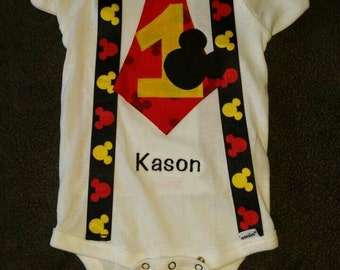 Mickey Mouse Embroidered First Birthday Boy Suspender and Tie Shirt / Onesie