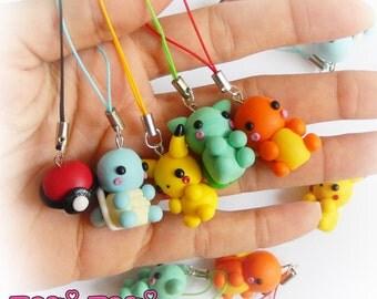 Pokemon Charms, Pikachu, Bulbasaur, Charmander, Squirtle, Pokeball, Polymer Clay Pokemon, Pokemon Keychain, Nintendo Charms, Geek Gamer Gift
