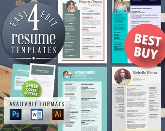 teacher resume resume template cv by easyresumetemplates on etsyfree edit    resume templates    free cover letter templates  teacher resume  creative resume  modern resume  picture resume  photo resume