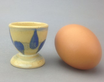 Yellow Egg Cup with Hand Painted Blue Rain Drop Pattern
