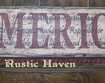 """Primitive Wooden Sign America with Pledge of Allegiance Overlay 5.5"""" x 24"""""""
