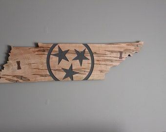 Carved Wooden Tennessee State Flag Sign with Walnut Bow Tie Inlay