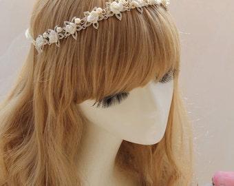 Crystal pearl hairband - wedding hair jewelry
