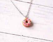 Elfi Handmade Cute Pink Sprinkle Doughnut Necklace, Polymer Clay Miniature Food Jewelry, Cute Pink Clay Donut Necklace, Best Selling