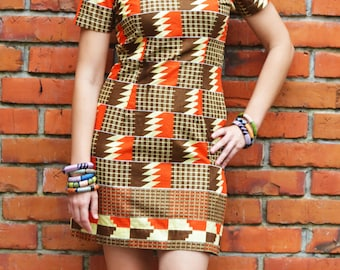 Ana African Print Dress // Brown & orange retro