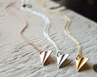 Dainty Paper Airplane Necklace Silver Gold and Rose Gold Minimal Jewelry Minimalist Necklace Origami Necklace Harry Styles Necklace