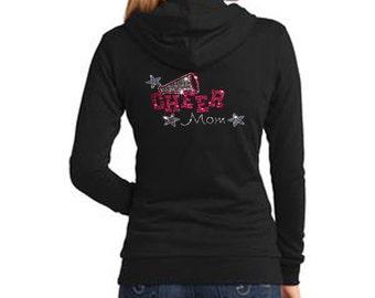 Cheer Mom with Rhinestone Women's Fleece Hoodie Sweatshirt Jacket