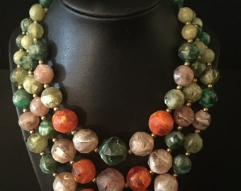 50's 3 Strand Tropical Bead Necklace             VG1231