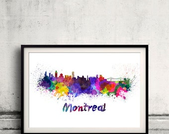 Montreal skyline in watercolor over white background with name of city 8x10 in. to 12x16 in. Poster Wall art Illustration Print  - SKU 0218