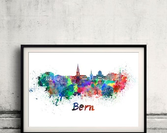 Bern skyline in watercolor over white background with name of city 8x10 in. to 12x16 in. Poster Wall art Illustration Print  - SKU 0271