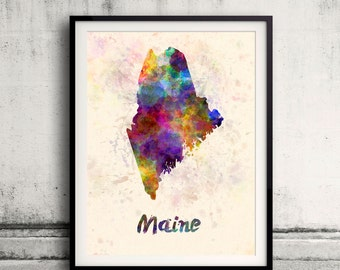 Maine US State in watercolor background 8x10 in. to 12x16 in. Poster Digital Wall art Illustration Print Art Decorative  - SKU 0406