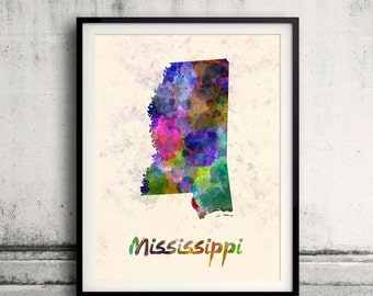 Mississippi US State in watercolor background 8x10 in. to 12x16 in. Poster Digital Wall art Illustration Print Art Decorative  - SKU 0411