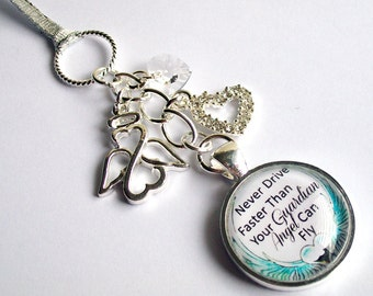Guardian Angel Car Mirror Charm ~ Never Drive Faster Than Your Guardian Angel Can Fly ~ Rear View Mirror Car Accessory