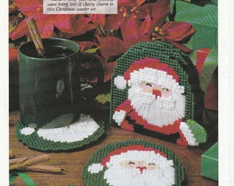 Pretty Santa Coaster Set in Plastic Canvas
