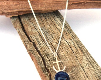Anchor Necklace Blue, Lost at Sea, Double Sided Boat Ship Lapis Lazuli Handmade UK
