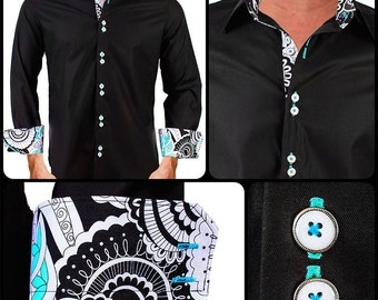 Men's Black with Teal Designer Dress Shirt - Made To Order in USA