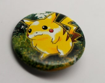 Pikachu - Jungle Edition 1.25'' (inches) Pinback Button - Made from REAL Pokemon Card!