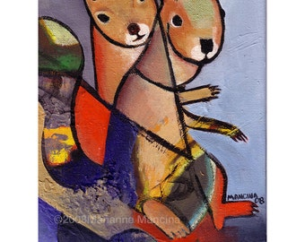 """SQUIRREL CUBED 8.5 x 11"""" Print of an Original Acrylic Painting - Cubist-like Squirrel Print Art"""