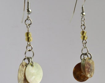 Brown Flat Shell Earrings with Amber Glass Beads
