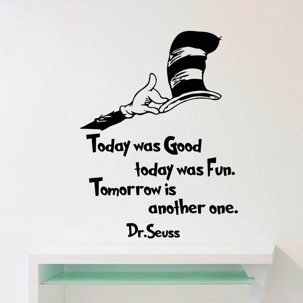 Dr seuss wall decals quotes today was good today by for Dr seuss wall mural decals