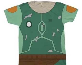 Star Wars Inspired Adult Boba Fett Costume Shirt - T-Shirt, Tee - Cosplay - Geeky Clothing, Nerdy, Unique Clothes, Sci-Fi, Movie, Comic-Con