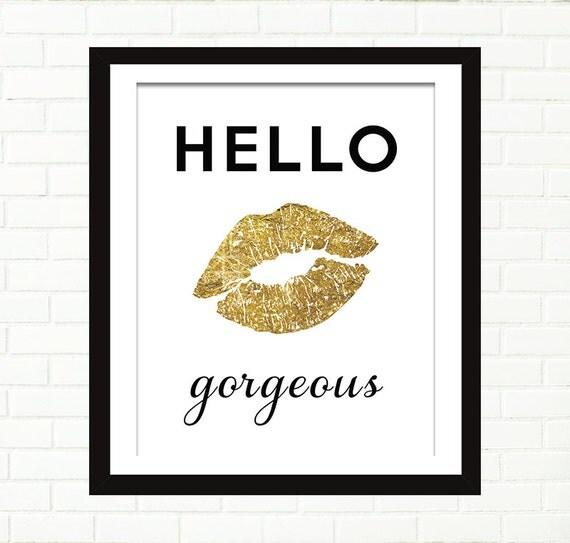 Gold Lips Print Poster Gold Foil Art Hello By Peachandgold