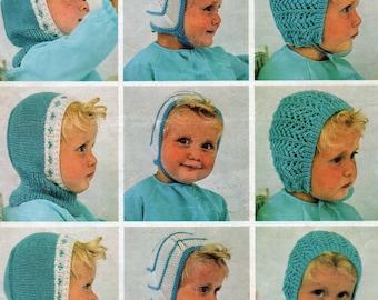 Vintage Baby Bonnet Knitting Pattern PDF