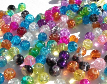 100 glass crackled beads 8 mm in all colors multicolor pink, blue, white, yellow etc.