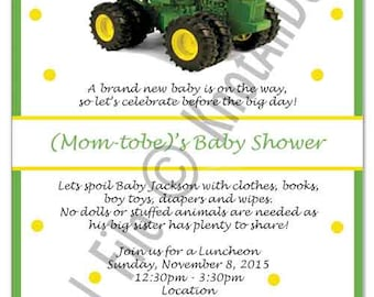 Tractor Baby Shower Invite - Digital File