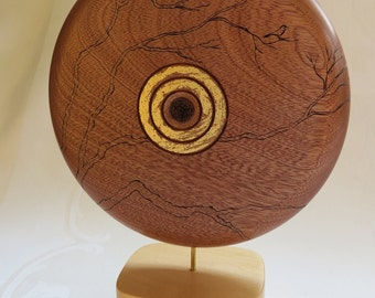 Contemporary sculpture turned wooden and woodburned/Contemporary turned sculpture with pyrography
