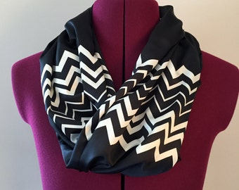 Infinity Scarf Silk Black with White Zig Zag pattern