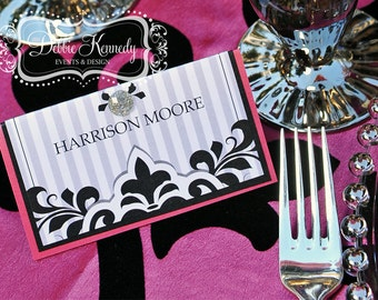 Black Tie Bespoke Place Cards / Escort Cards DEPOSIT - Black and White Wedding - Reception Seating, Custom Design Wedding Name Cards