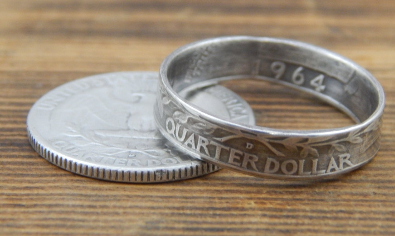 us silver quarter coin ring 1932 1964 tails side out us size
