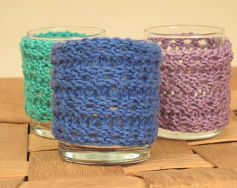 Candle Cozies - Knitted Set Of Three