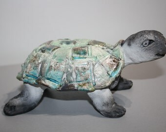 ceramic raku turtle
