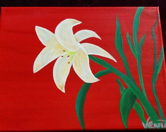SOLD - White Lily on Brilliant Red
