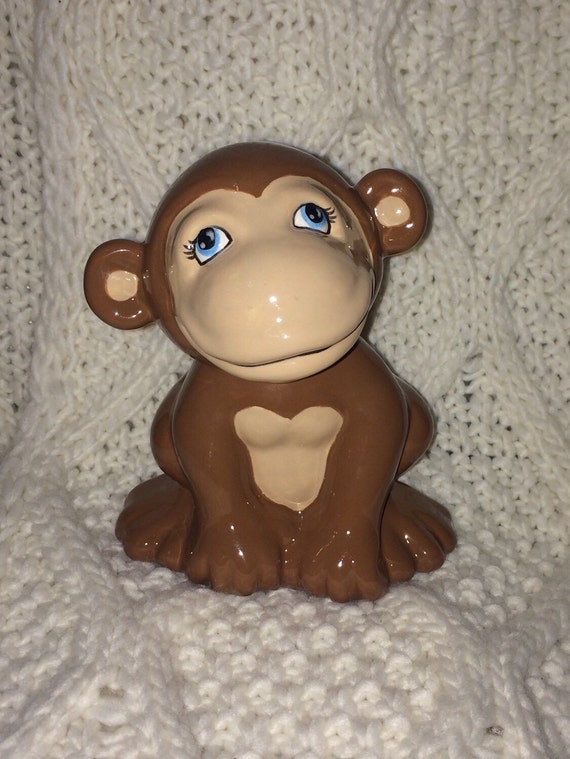 Items similar to monkey piggy bank personalized baby gift monkey items similar to monkey piggy bank personalized baby gift monkey piggy bank ceramic bank custom hand painted baby gift personalized baby present on etsy negle Image collections