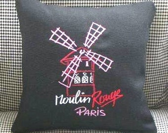 Paris Moulin Rouge Embroidered Pillow
