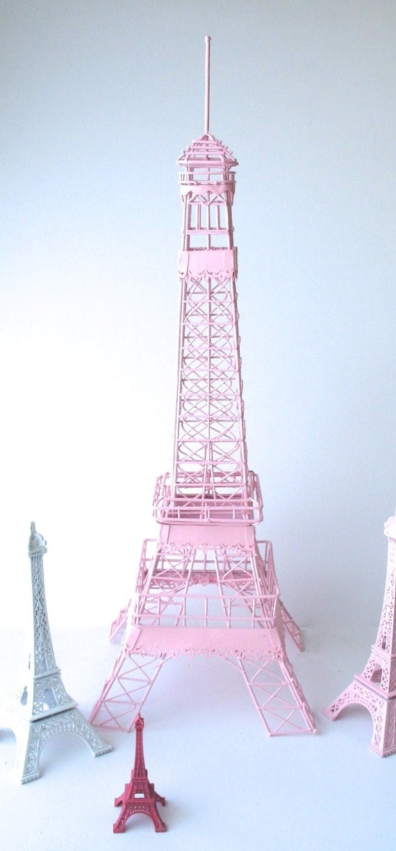 Eiffel tower pink centerpiece shabby chic