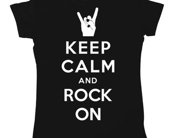 Keep Calm And Rock On Womens Summer Music Festival Printed T-Shirt