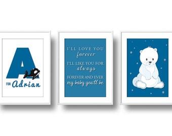 Arctic Nursery Decor, Mix 'n Match Nursery Wall Art, Baby Arctic Animals Nursery, Penguin, Snow Fox, & Polar Bear, Dream Big Little One