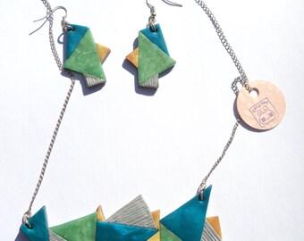 fimo, SKY & SEA necklace, fimo jewelry, blue and green necklace, geometric necklace, clay necklace, steampunk necklace