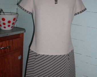 Vintage 1960s  dress, polyester, striped,