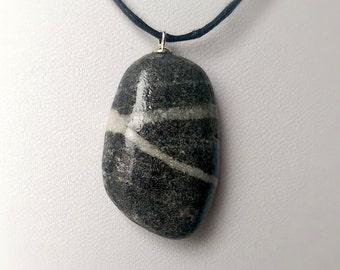 Beach Pebble Necklace: Basalt & Quartz