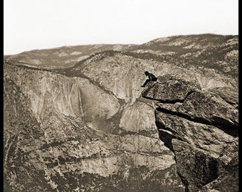 Eadweard Muybridge Photo, Man on Cliff's Edge, 1870s