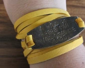 "Hand Stamped Brass ""I Will Go Where You Will Lead Me"" Leather Wrap Bracelet *Christian Jewelry**Inspirational Jewelry*"